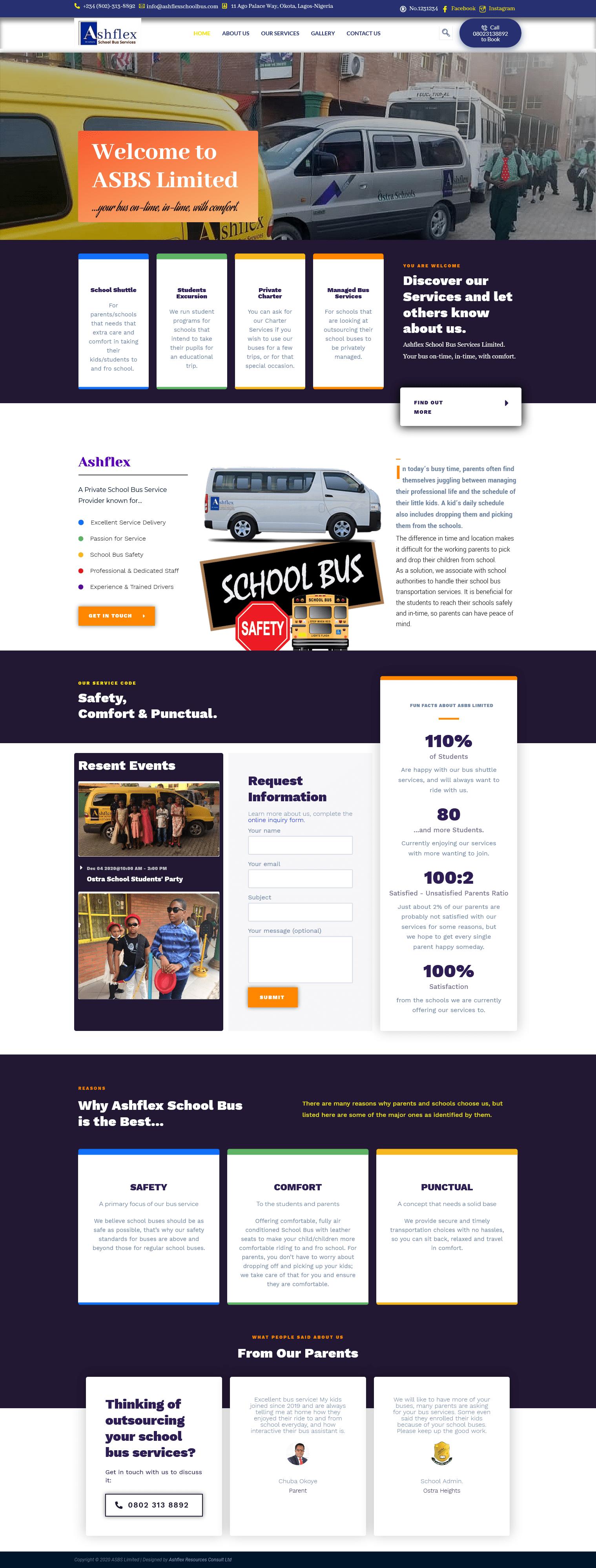 Ashflex School Bus Services  - www.ashflexschoolbus.com