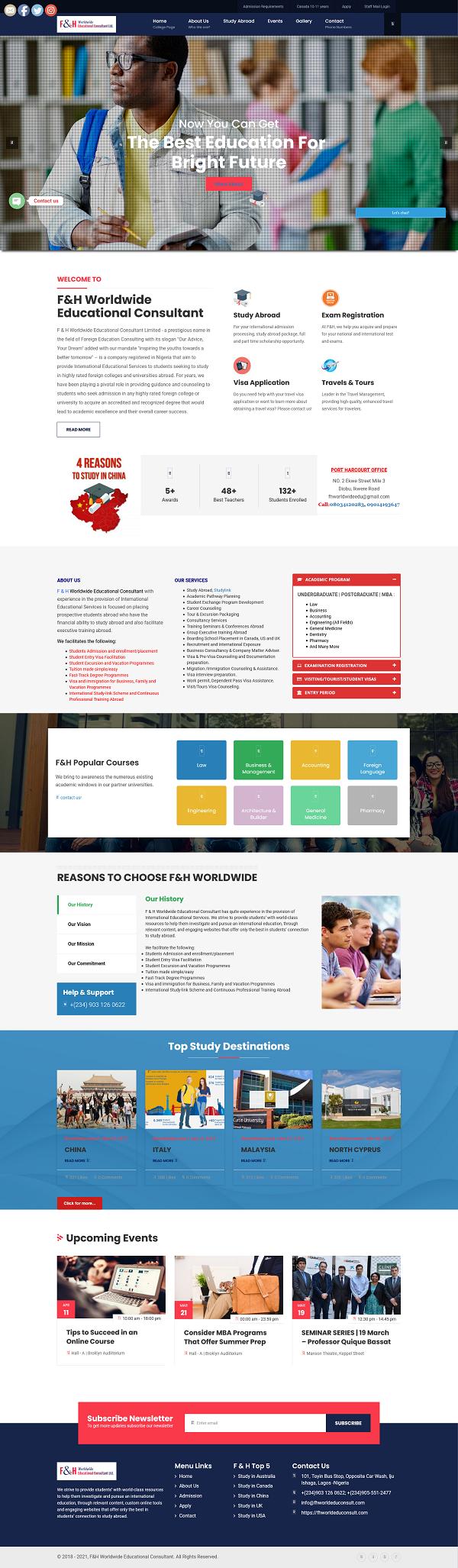 F & H Worldwide Educational Consultant - www.fhworldeduconsult.com